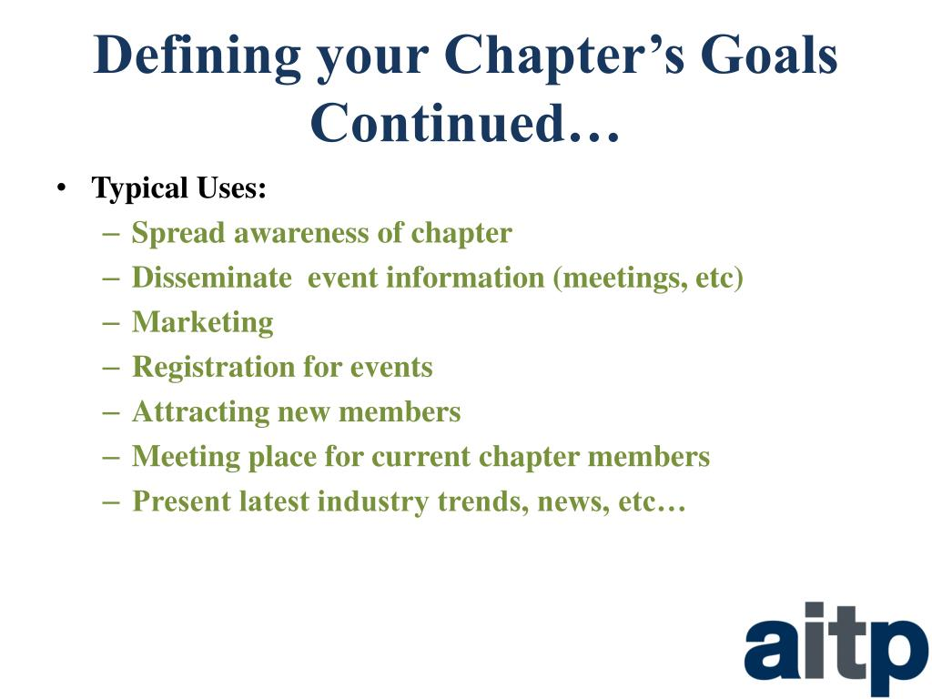 Defining your Chapter's Goals