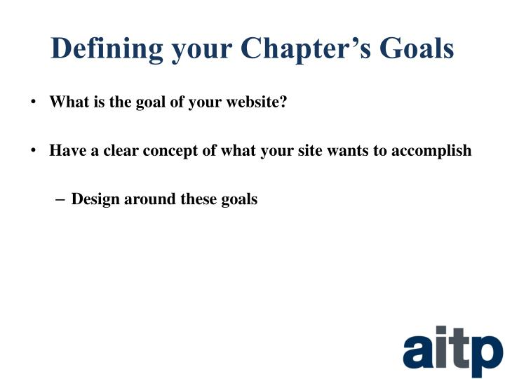 Defining your chapter s goals