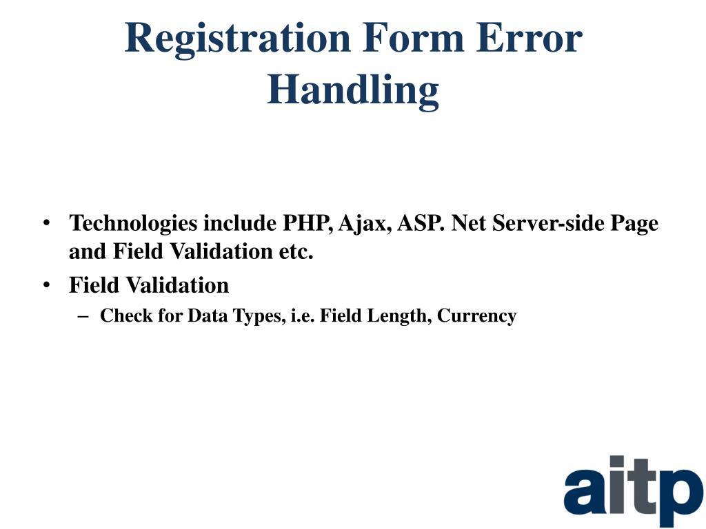 Registration Form Error Handling