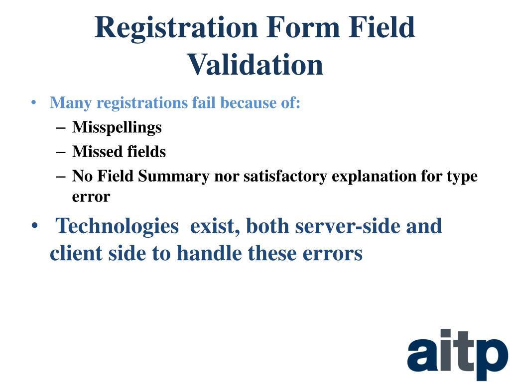 Registration Form Field Validation