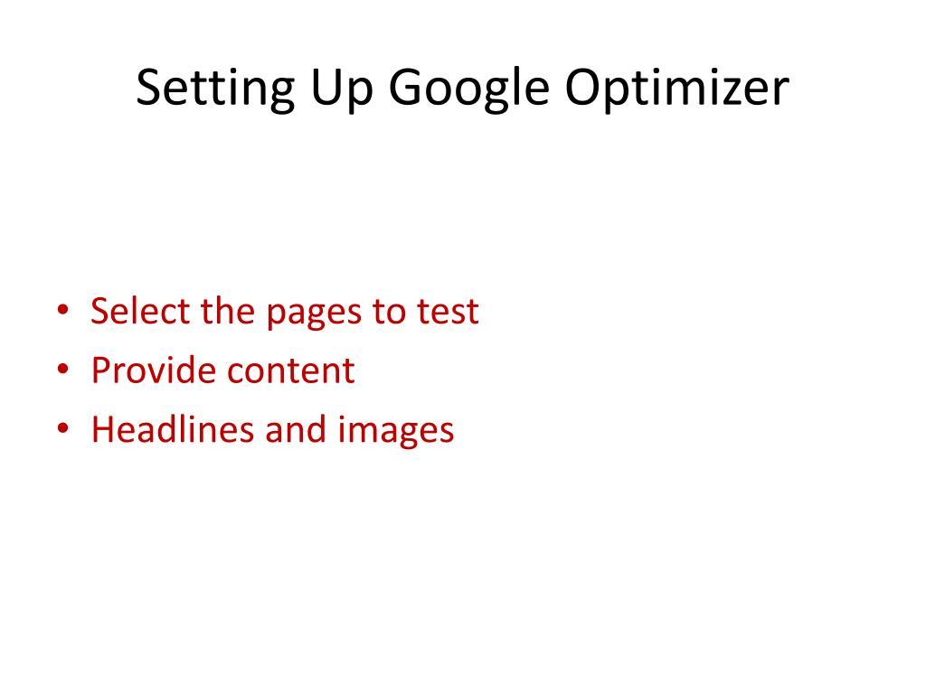 Setting Up Google Optimizer