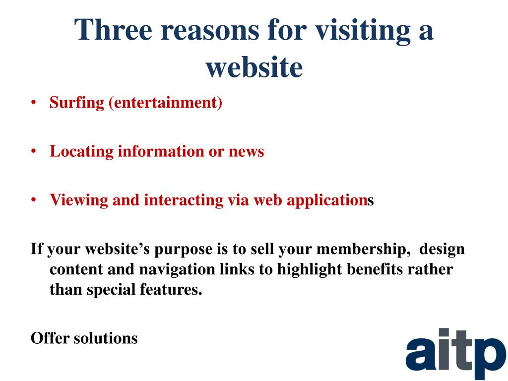 Three reasons for visiting a website