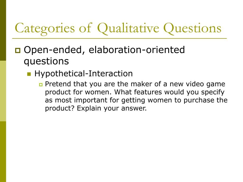 Categories of Qualitative Questions