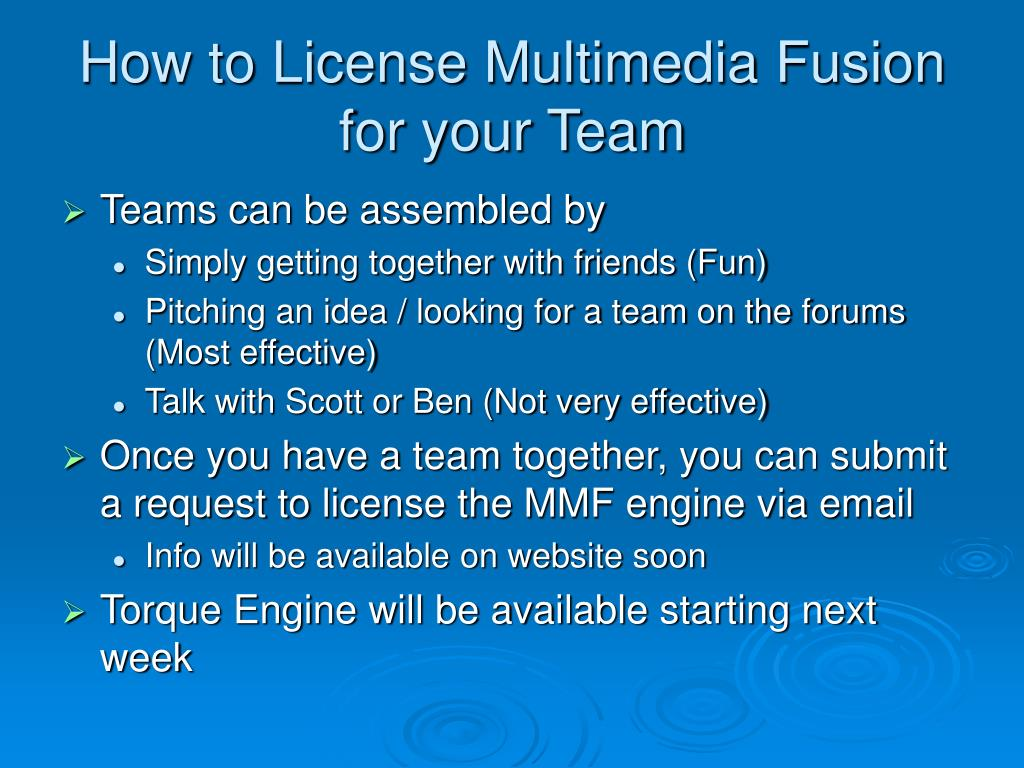 How to License Multimedia Fusion for your Team