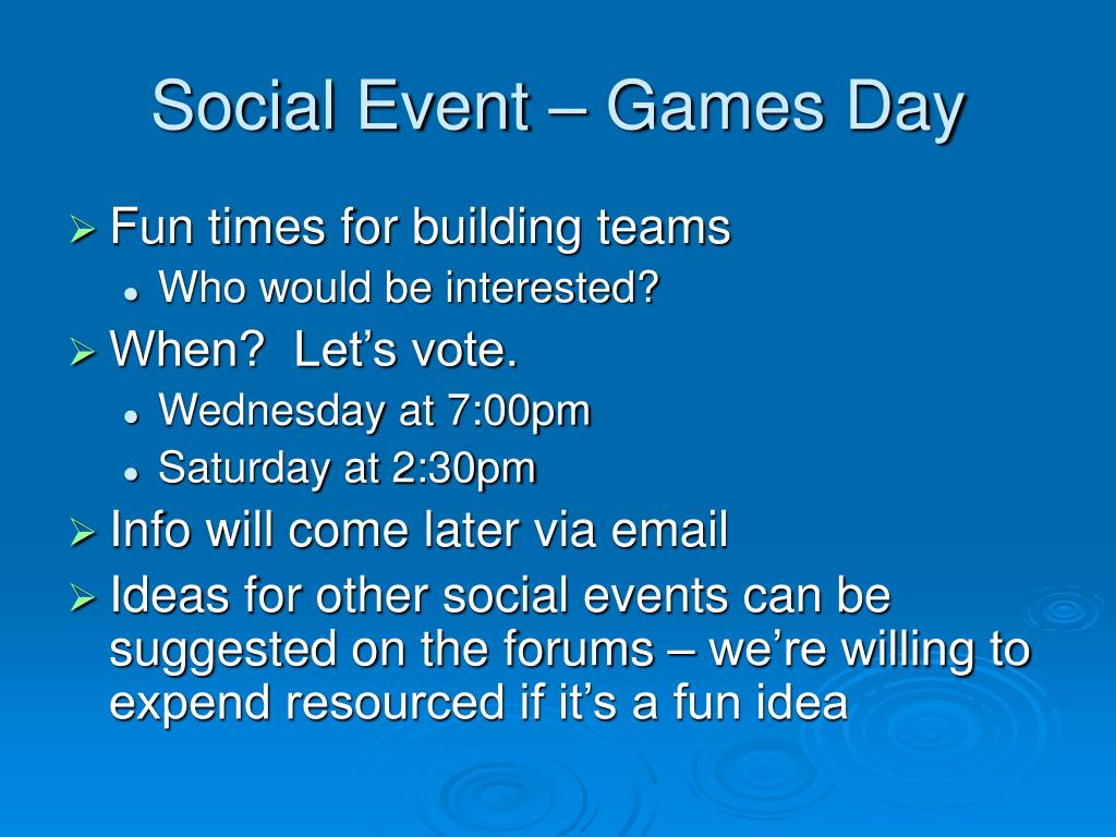 Social Event – Games Day