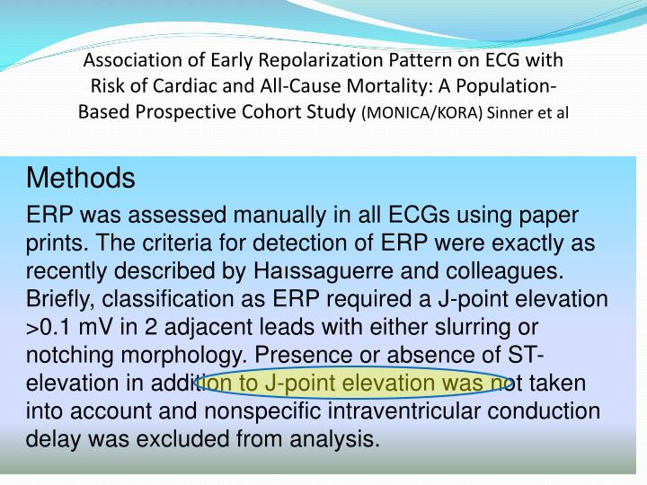 Association of Early Repolarization Pattern on ECG with