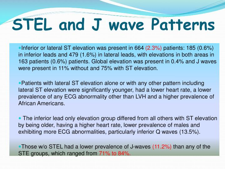 STEL and J wave Patterns
