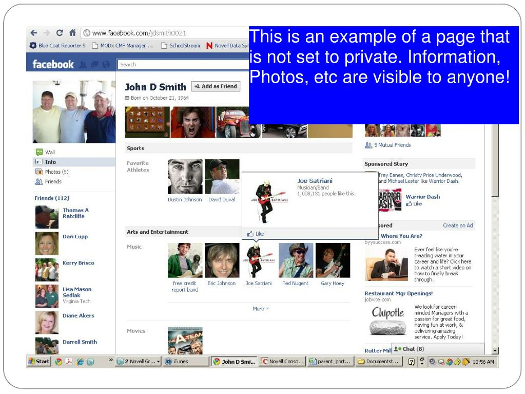 This is an example of a page that is not set to private. Information, Photos, etc are visible to anyone!
