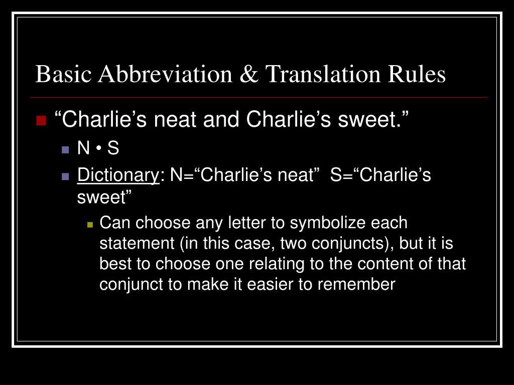 Basic Abbreviation & Translation Rules