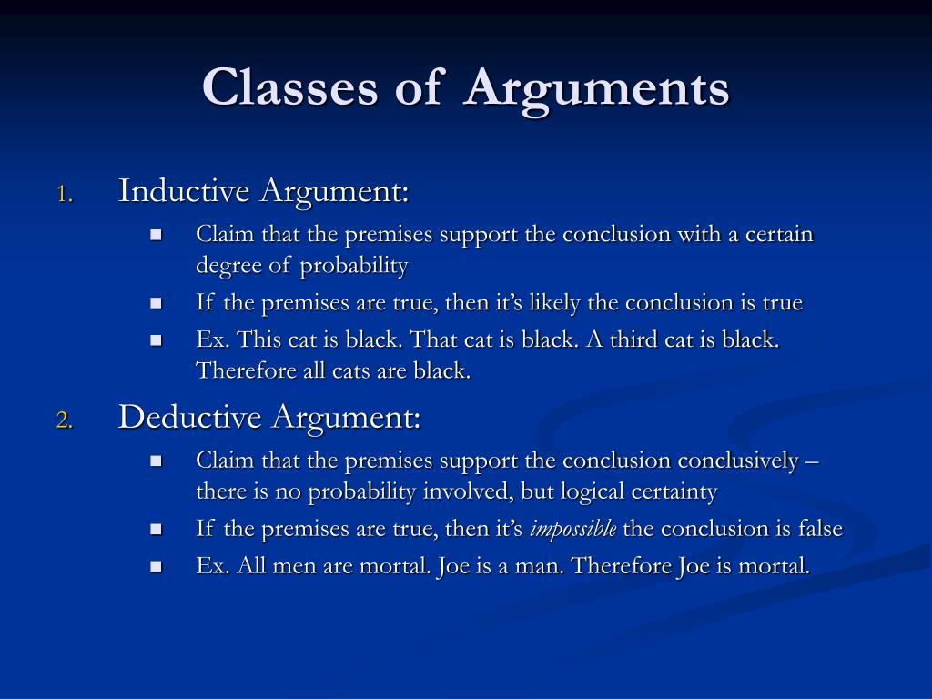 Classes of Arguments
