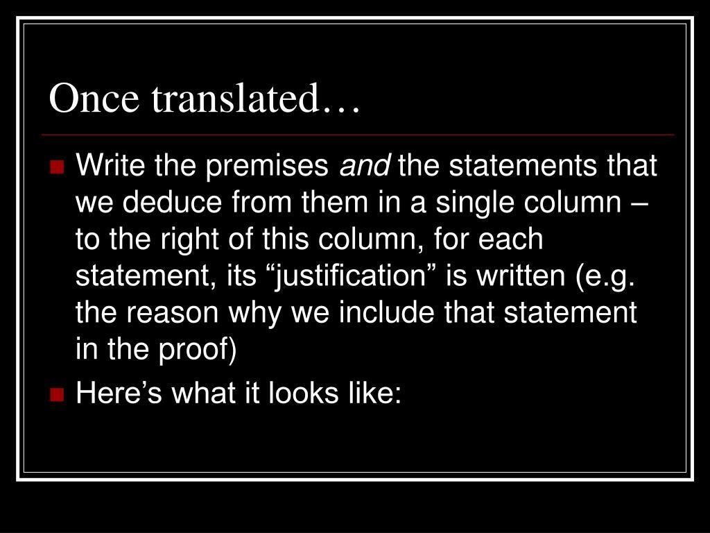 Once translated…