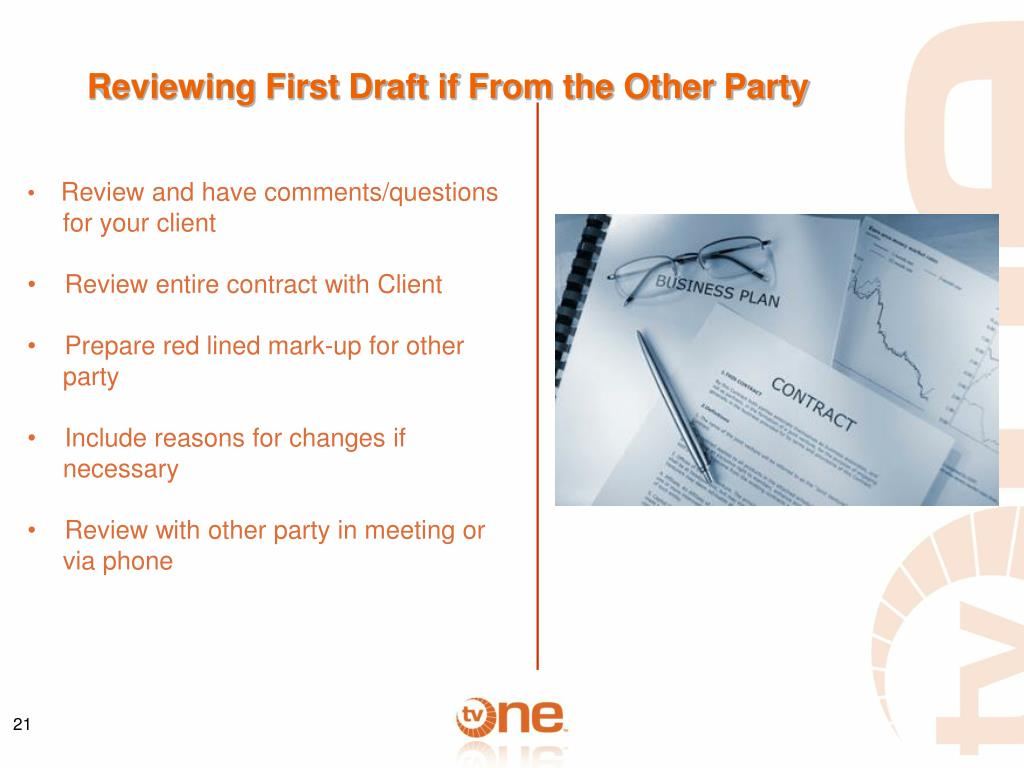Reviewing First Draft if From the Other Party