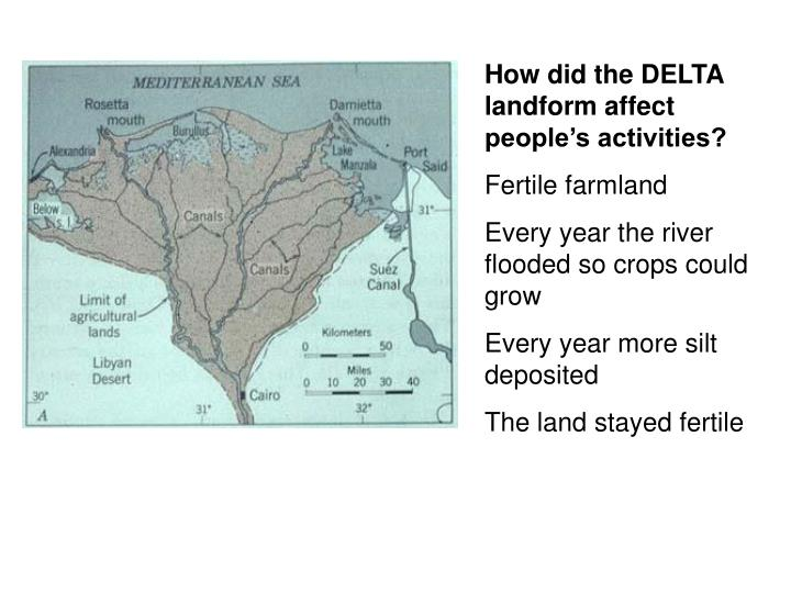 How did the DELTA landform affect people's activities?