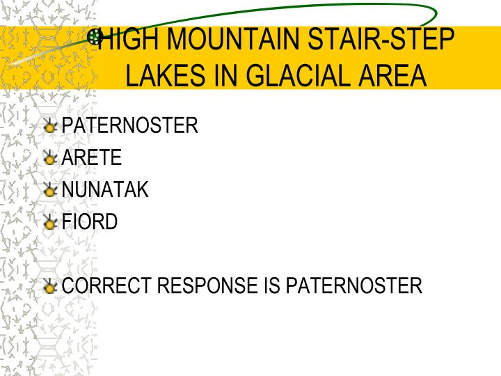 HIGH MOUNTAIN STAIR-STEP LAKES IN GLACIAL AREA