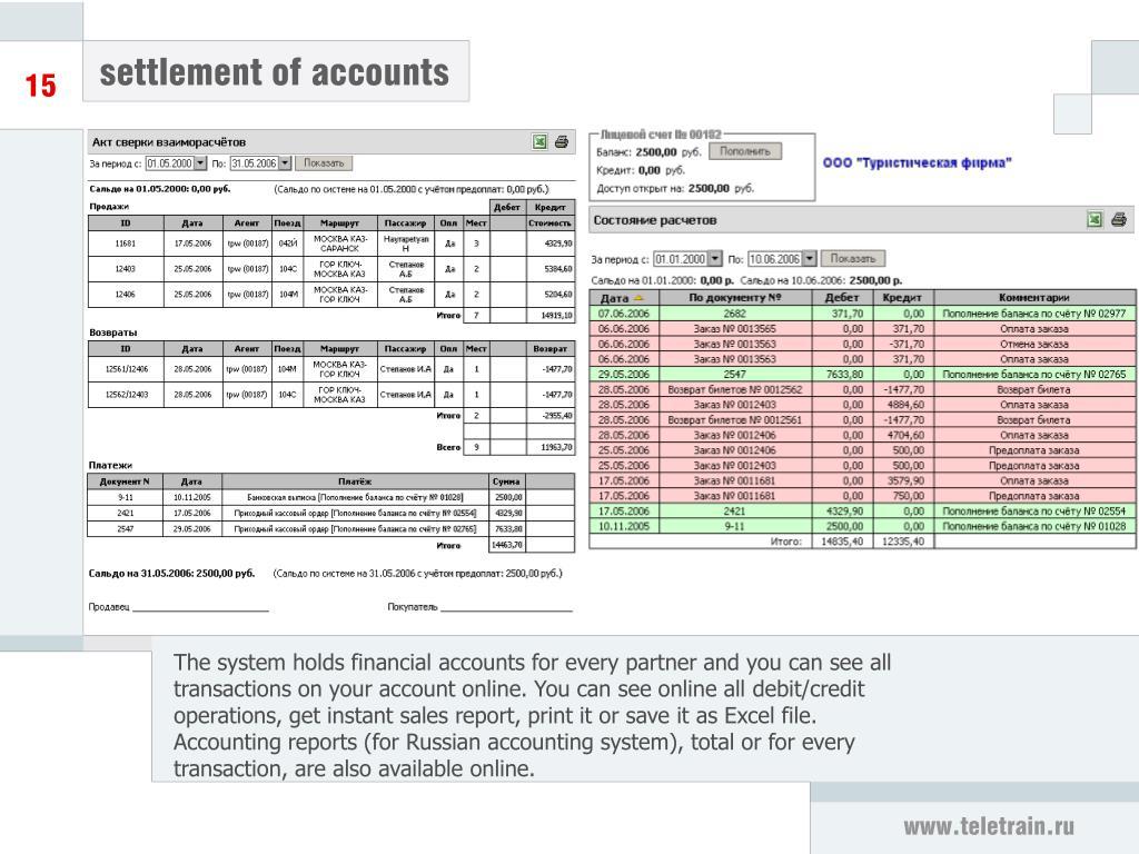 settlement of accounts