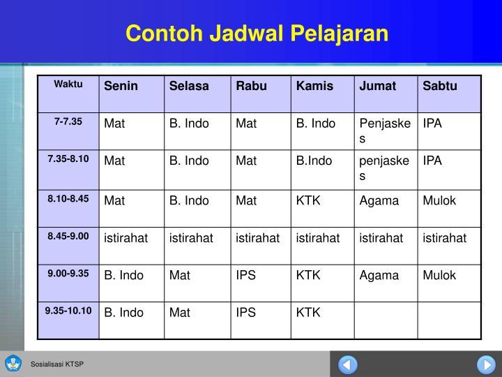 Contoh Jadwal Pelajaran