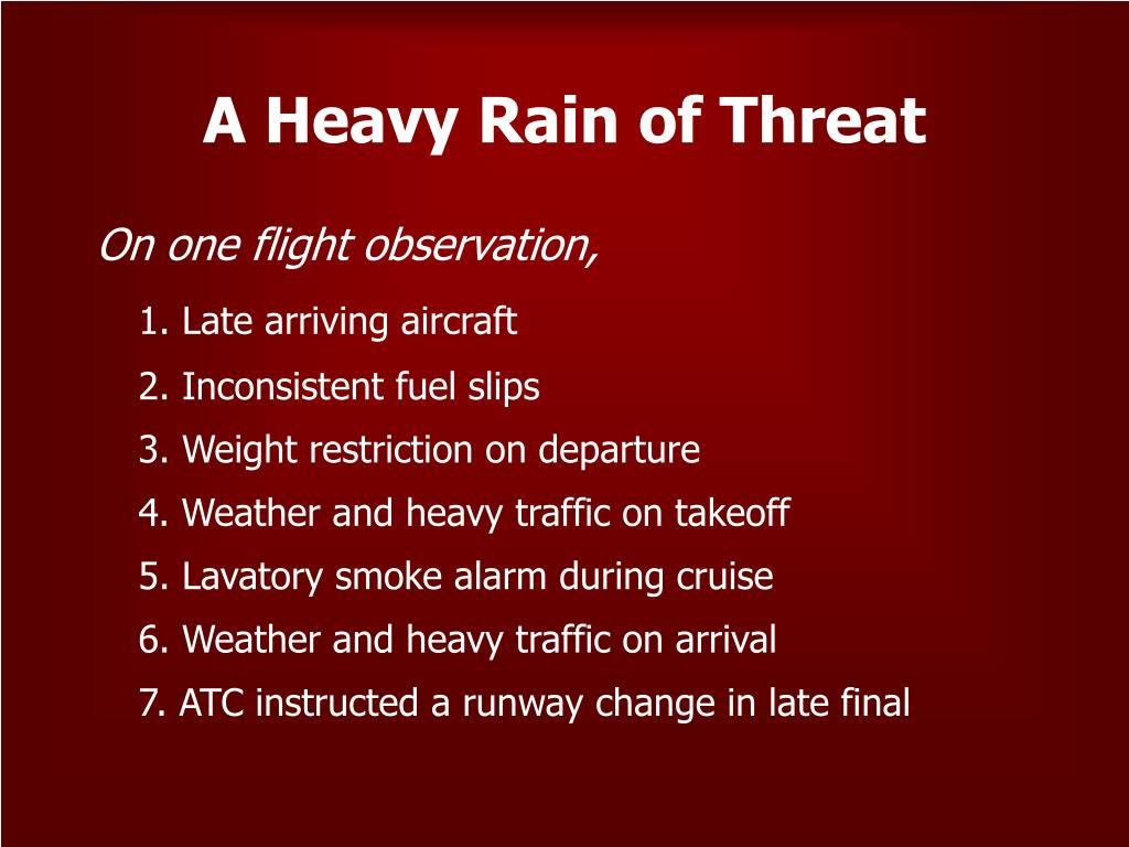 A Heavy Rain of Threat