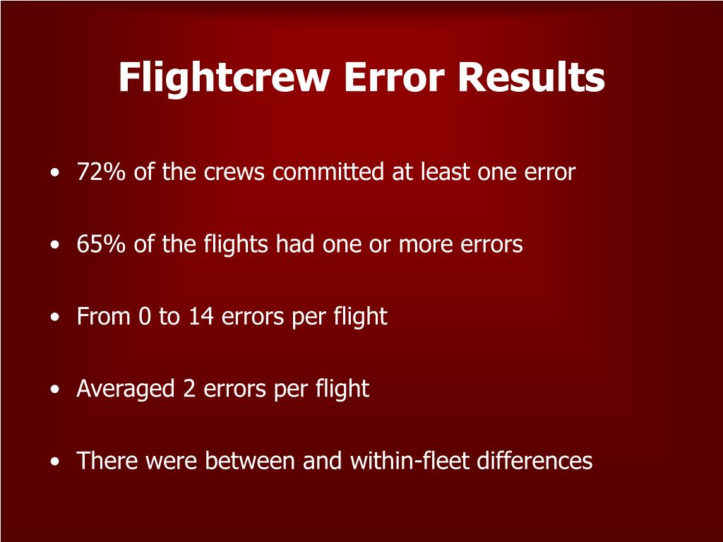 Flightcrew Error Results