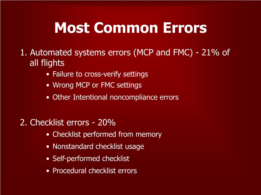 Most Common Errors
