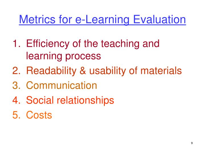 Metrics for e-Learning Evaluation