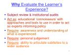why evaluate the learner s experience