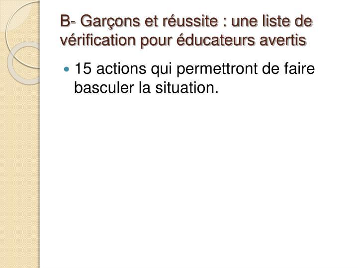 B- Garçons et réussite : une liste de vérification pour éducateurs avertis