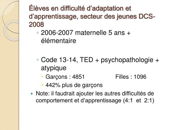 Élèves en difficulté d'adaptation et d'apprentissage, secteur des jeunes DCS-2008