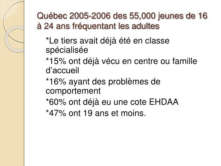 Québec 2005-2006 des 55,000 jeunes de 16 à 24 ans fréquentant les adultes