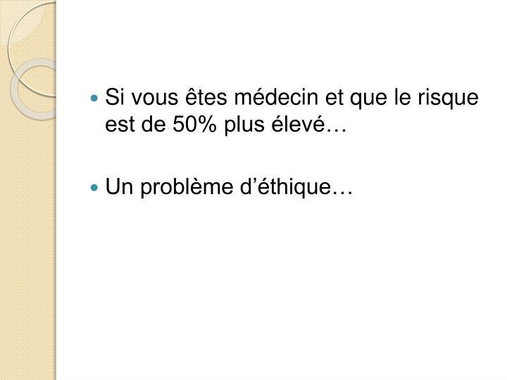 Si vous êtes médecin et que le risque est de 50% plus élevé…
