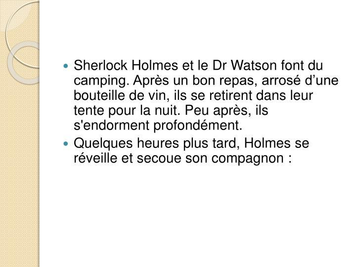 Sherlock Holmes et le Dr Watson font du camping. Après un bon repas, arrosé d'une bouteille de vin, ils se retirent dans leur tente pour la nuit. Peu après, ils s'endorment profondément.