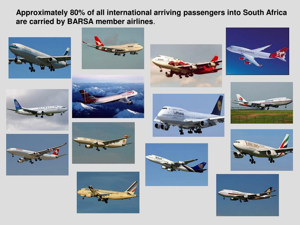 Approximately 80% of all international arriving passengers into South Africa