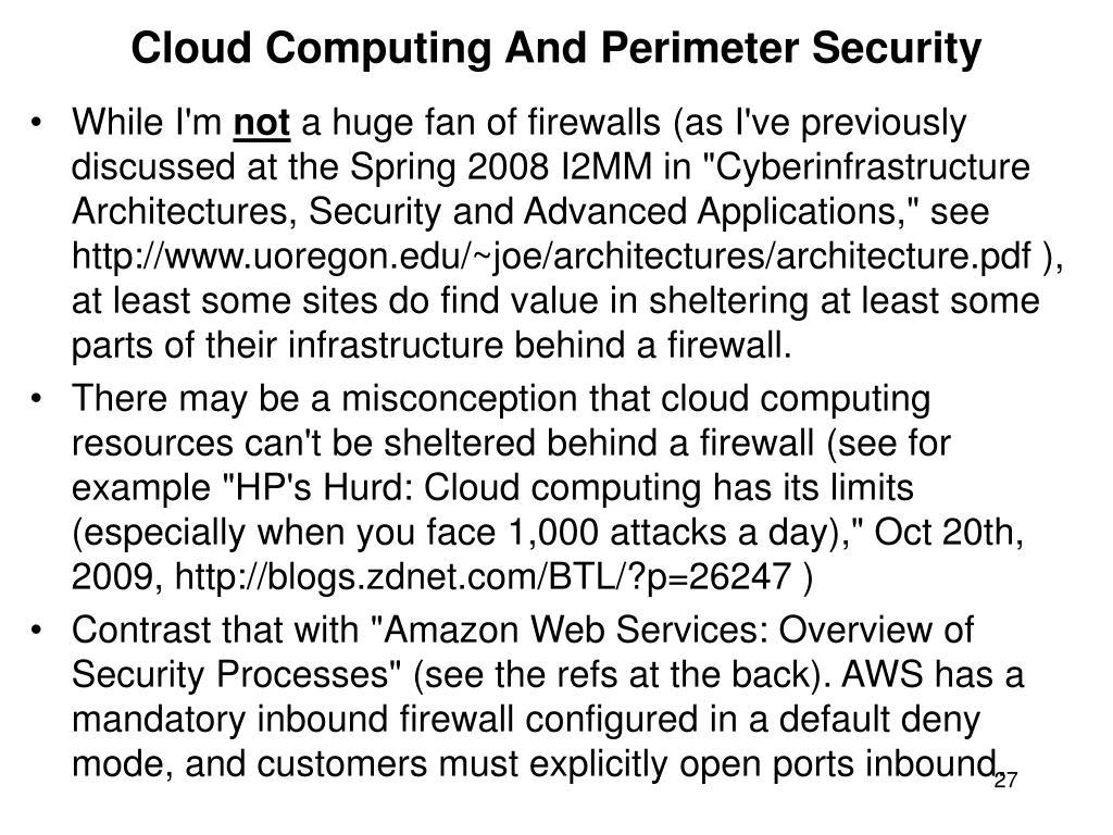 Cloud Computing And Perimeter Security