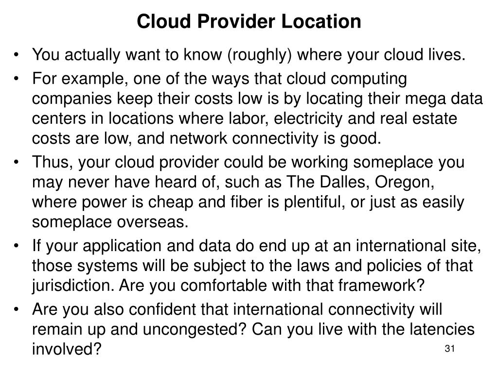 Cloud Provider Location