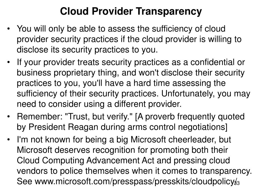 Cloud Provider Transparency