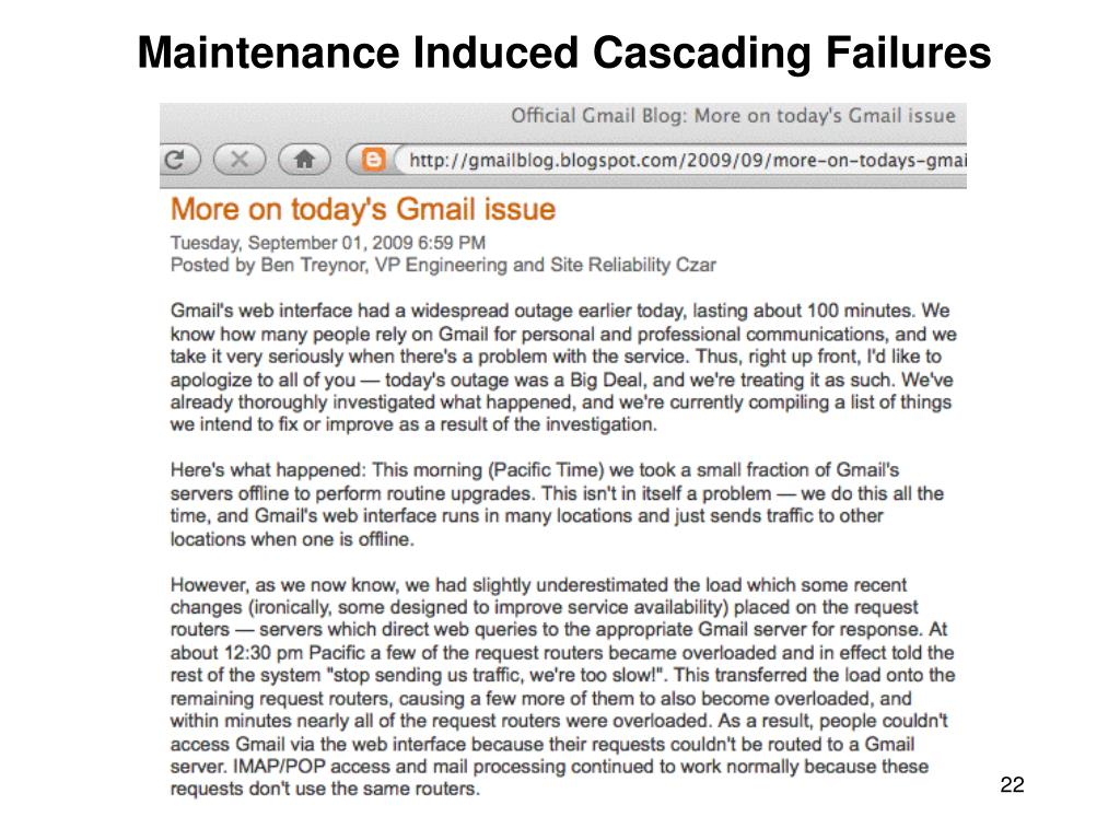 Maintenance Induced Cascading Failures