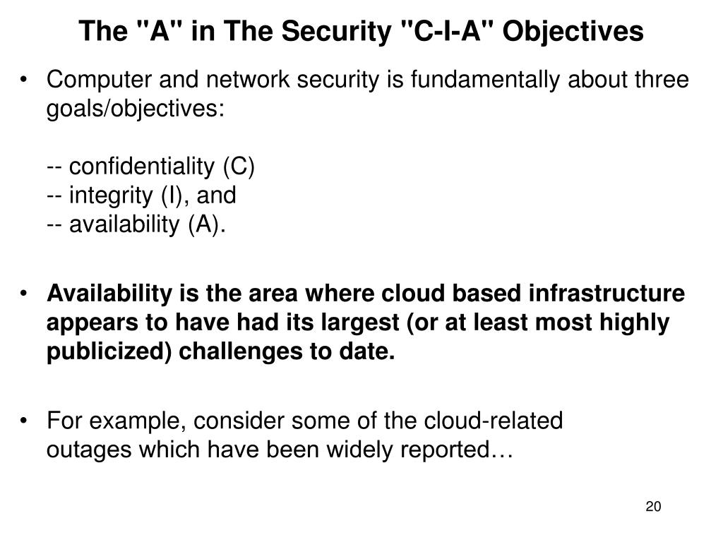 "The ""A"" in The Security ""C-I-A"" Objectives"