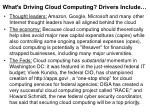 what s driving cloud computing drivers include