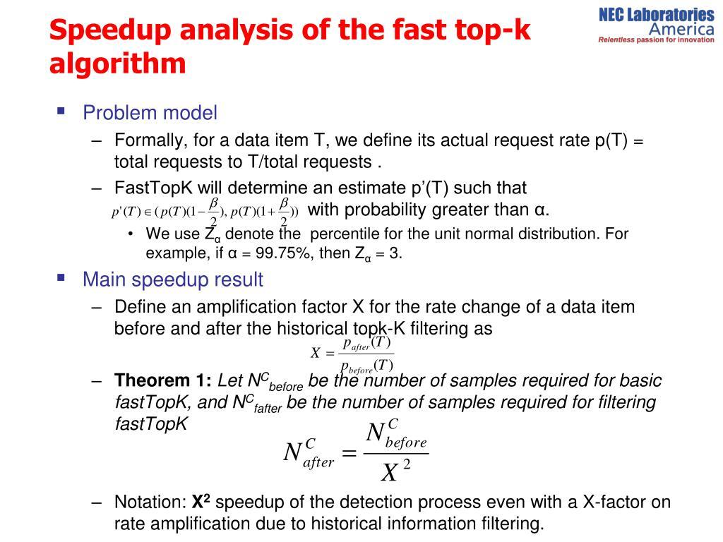 Speedup analysis of the fast top-k  algorithm