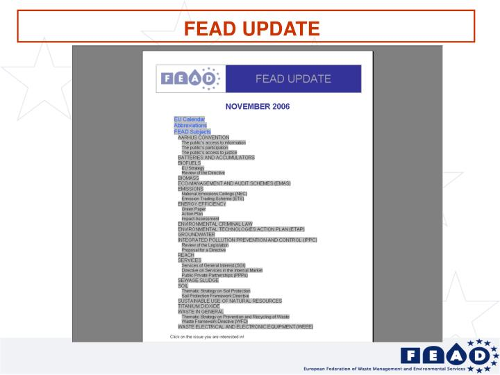 FEAD UPDATE