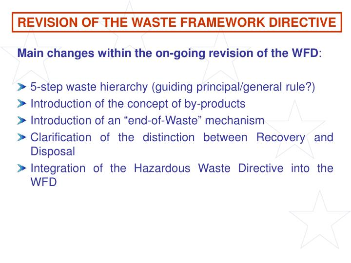 REVISION OF THE WASTE FRAMEWORK DIRECTIVE