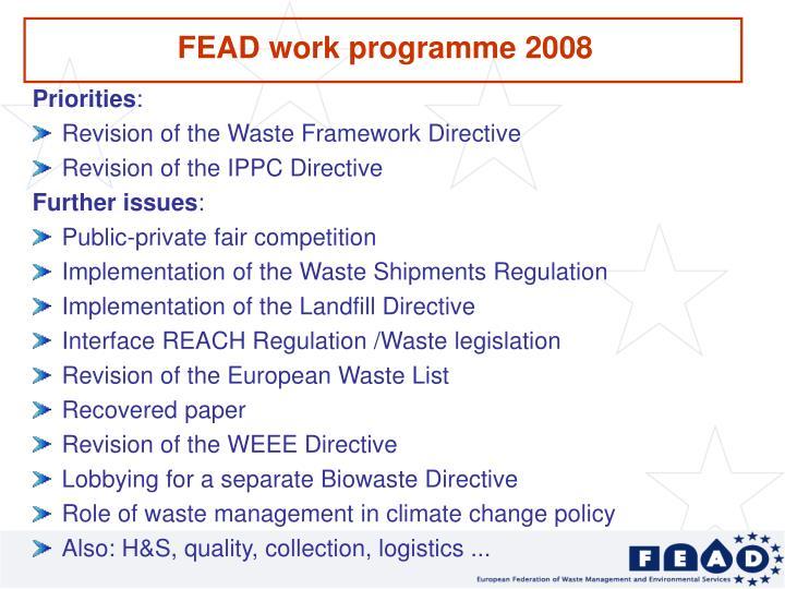 FEAD work programme 2008