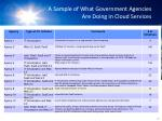 a sample of what government agencies are doing in cloud services