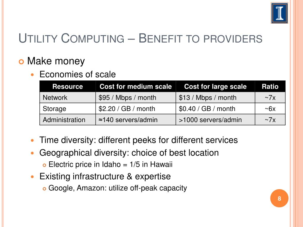 Utility Computing – Benefit to providers