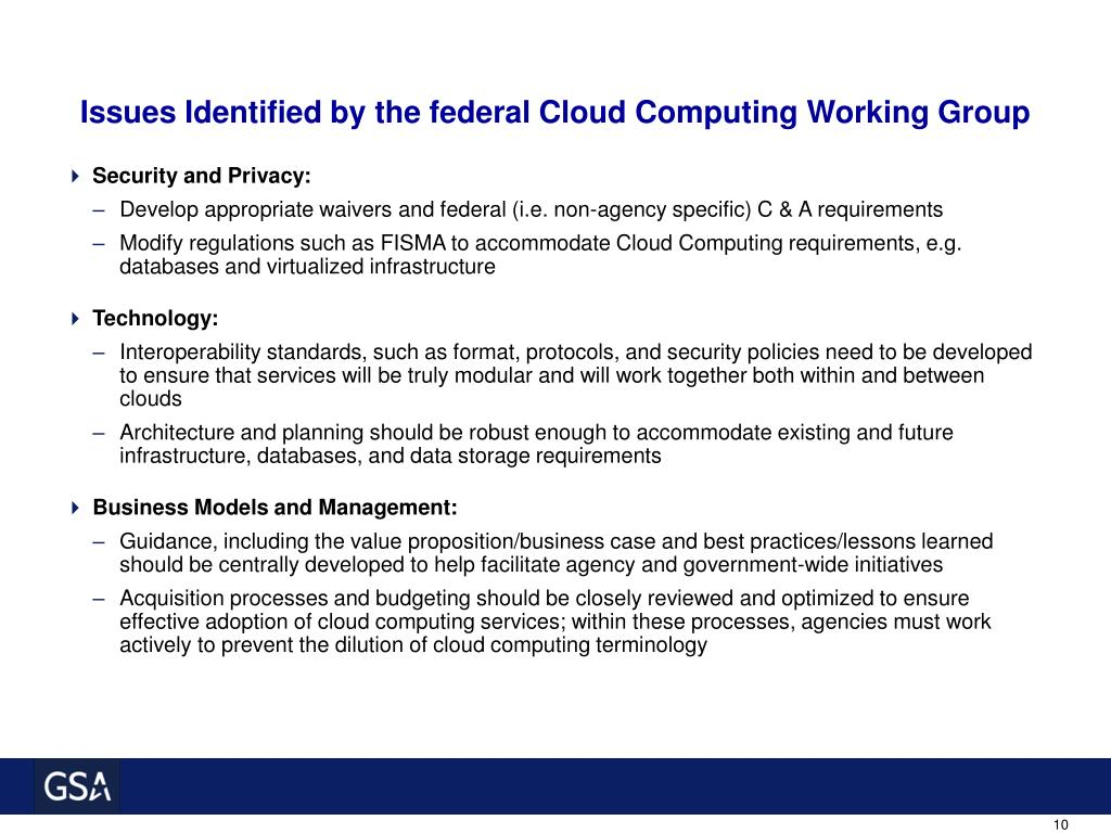 Issues Identified by the federal Cloud Computing Working Group