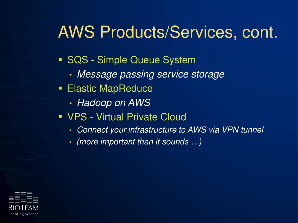 AWS Products/Services, cont.