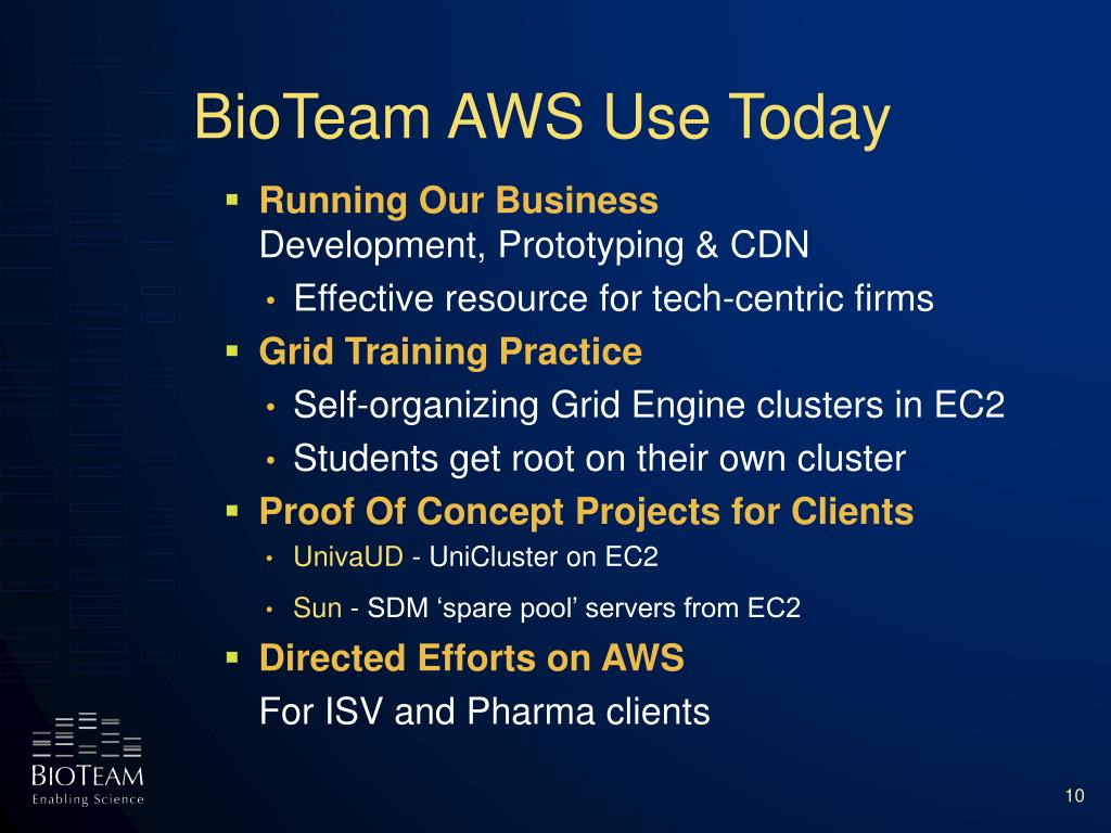 BioTeam AWS Use Today