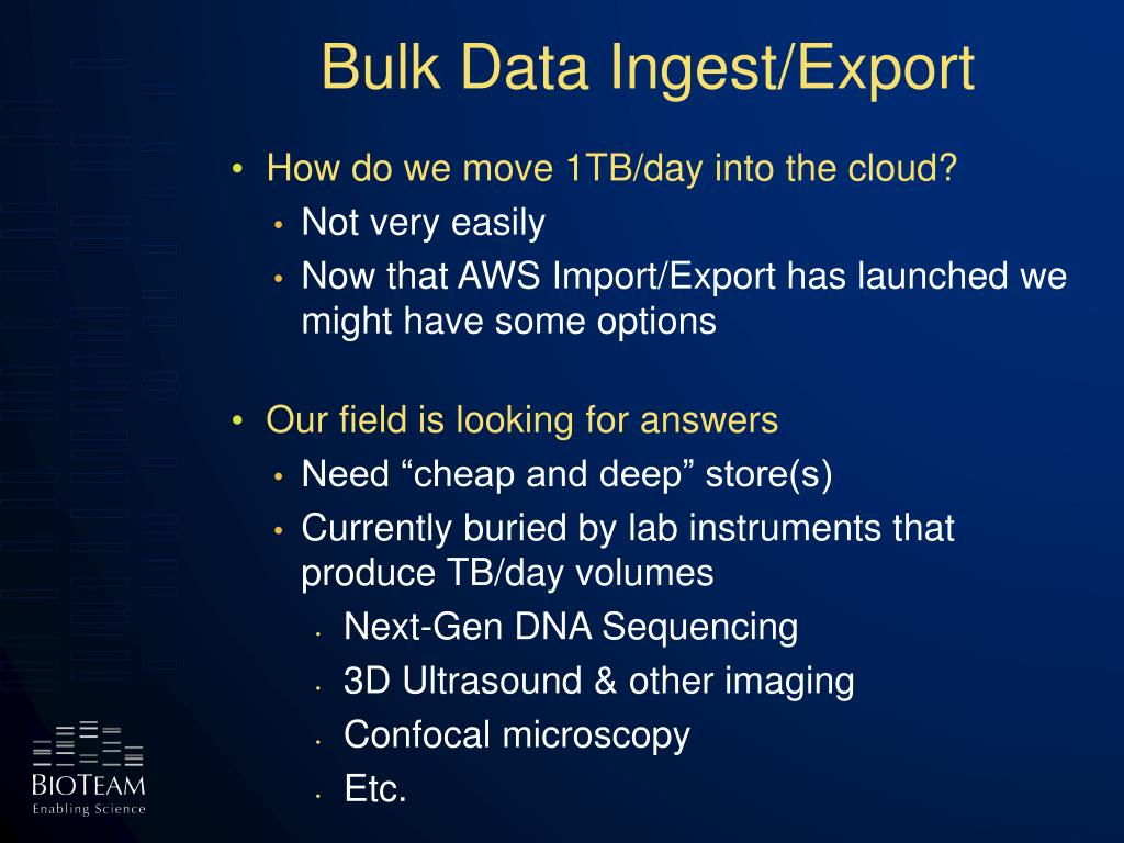 Bulk Data Ingest/Export