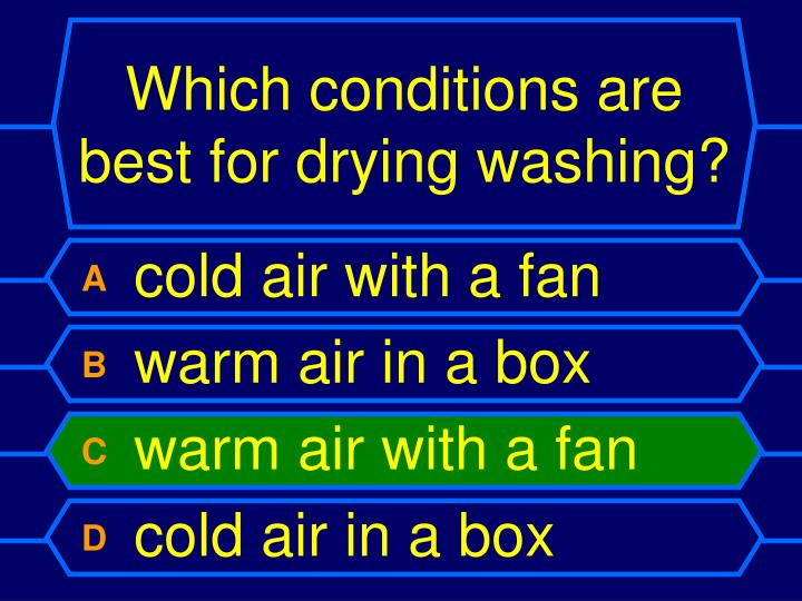 Which conditions are best for drying washing?