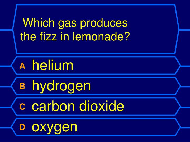 Which gas produces the fizz in lemonade?