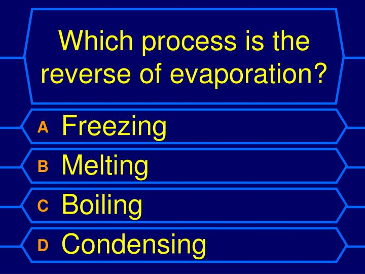 Which process is the reverse of evaporation?